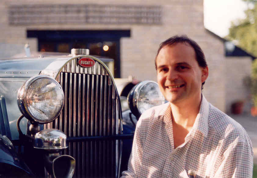 A picture of Hugh Price and the radiator of a Bugatti